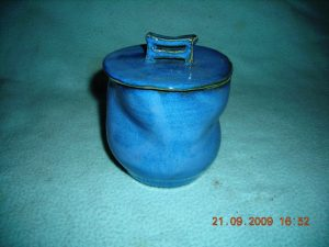 Asian twisted, lidded jar