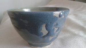 Blue bubbled glaze cereal bowl