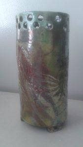 Slab made, textured, Footed, Raku Vase