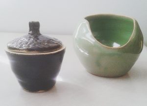Small lidded pot and peony vase