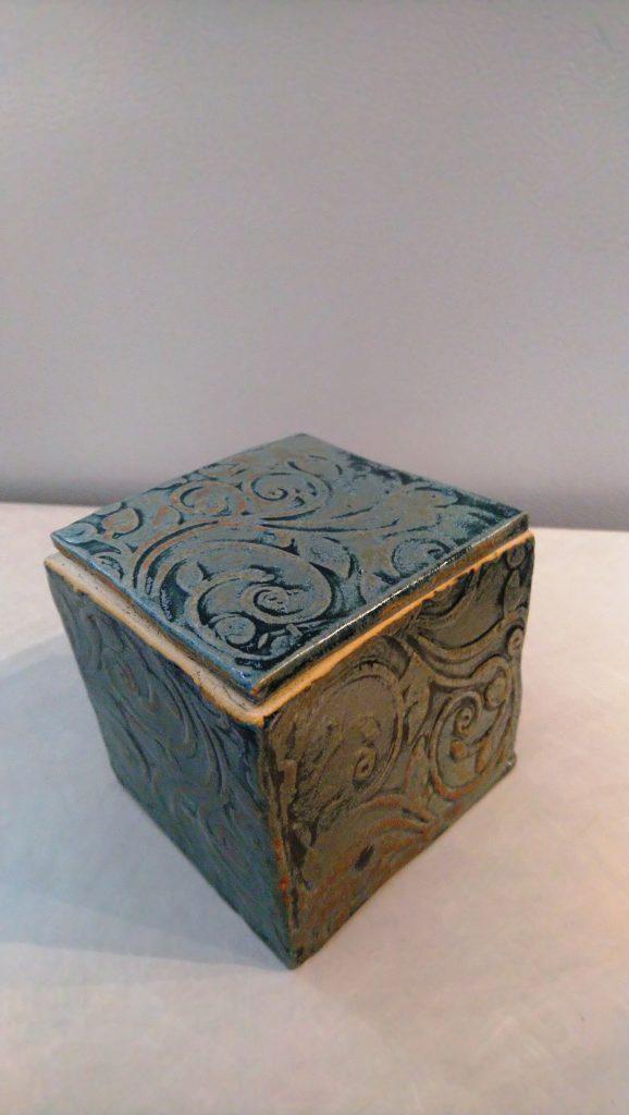 Textured Lidded Box, slab built