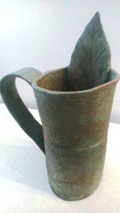 Leaf Mug, Slab built whimsical vase