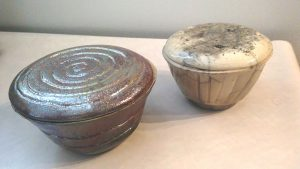 Lidded bowls, note White one is cracked and not functional