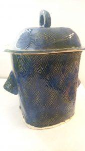 Textured Cookie jar with lid, slab built