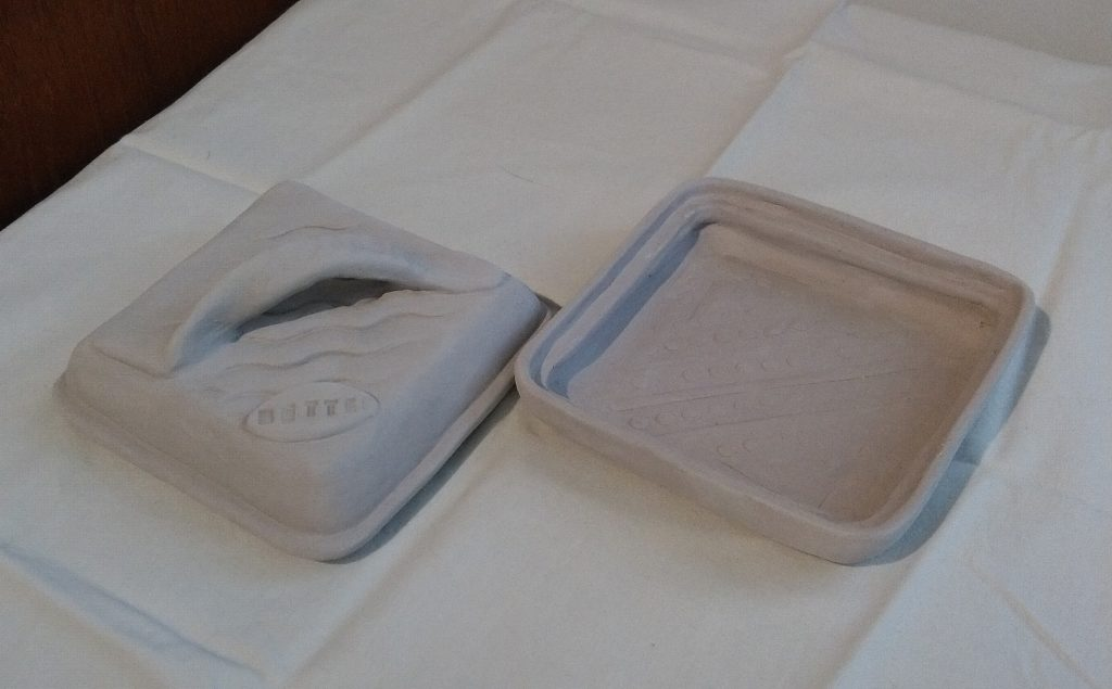 Square Butter Dish open