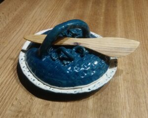 Teal Basket with Vines Butter dish