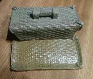 Basket Weave Textured Butter Dish Inside View
