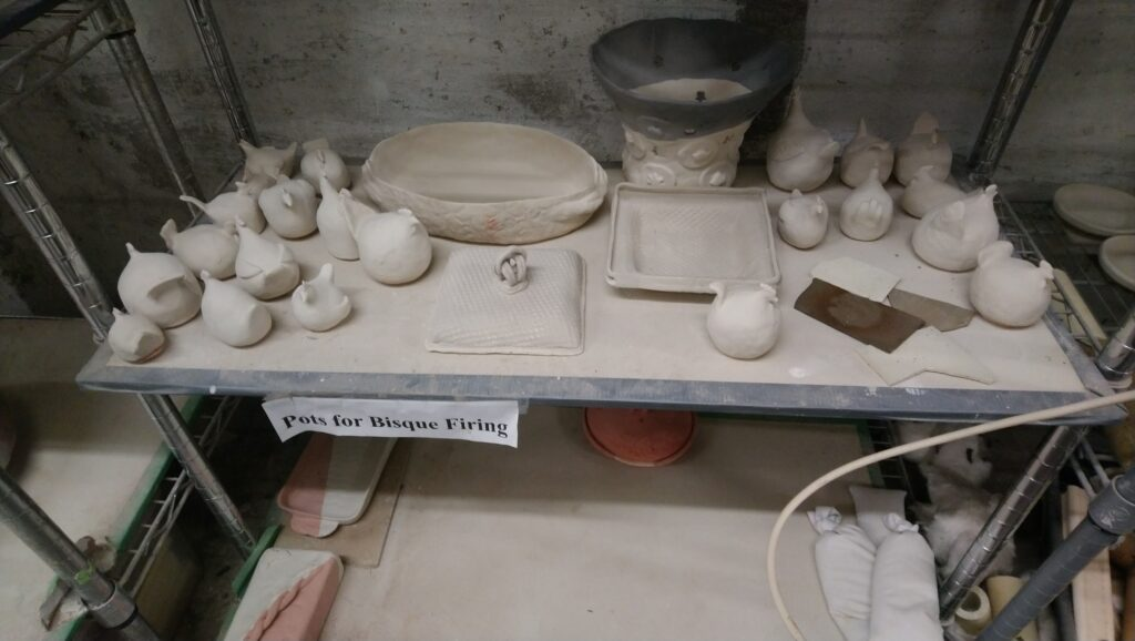 Glazed Chicken Army, Butter Dishes, Casserole Dish, Orchid Pot waiting for firing