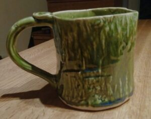 Tree Bark Textured, Moss green Mega Mug