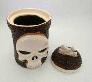 Skull Lidded vessel with Bones on lid