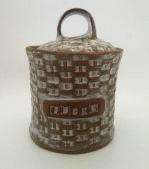 White on Brown Stash Jar