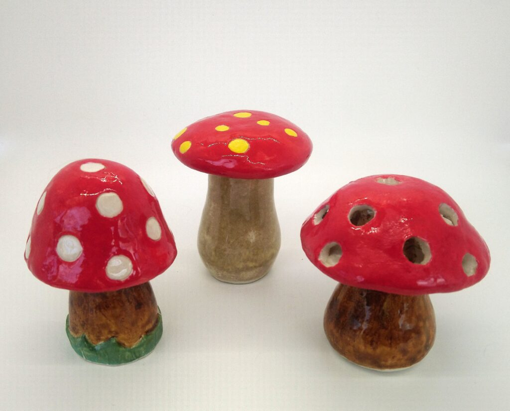 3 small red mushrooms